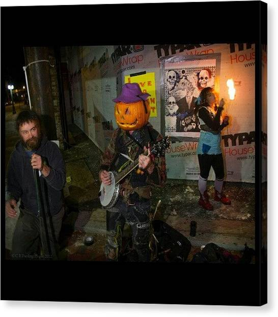 Banjos Canvas Print - Buskers With The Fireeater~ by Chris T Darling