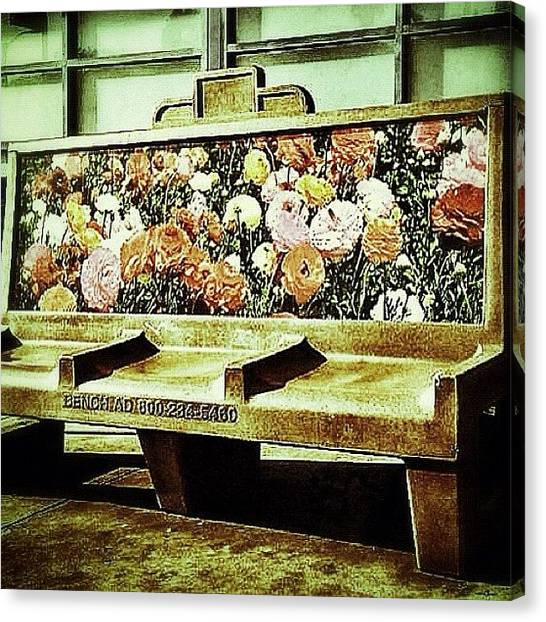 Hollywood Canvas Print - #busstop #losangeles #hollywood by Cortney Herron
