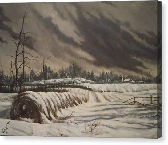 Butler Farm In Winter Canvas Print