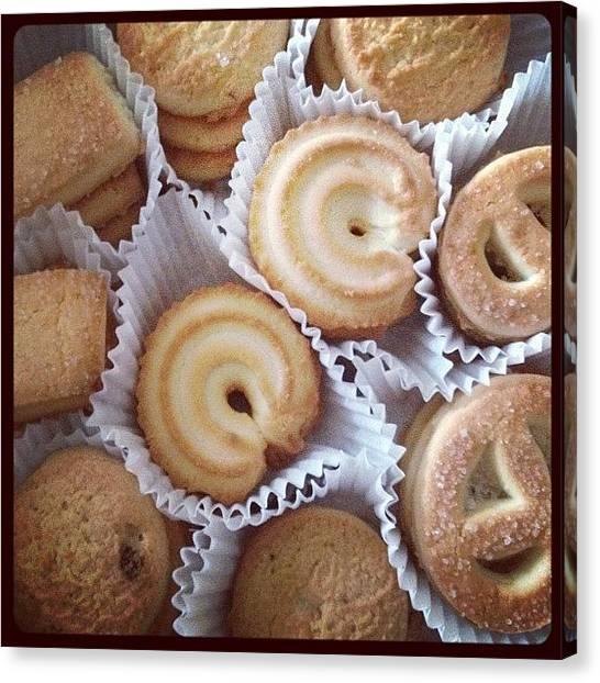 Milk Canvas Print - Butter Cookies 😍 #cookies #butter by Myrtali Petrocheilou