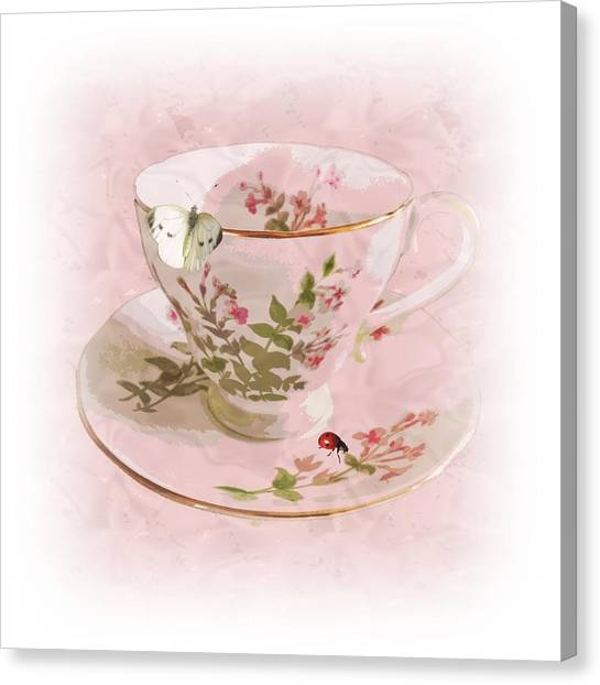Tea Set Canvas Print - Butter Cup by Sharon Lisa Clarke