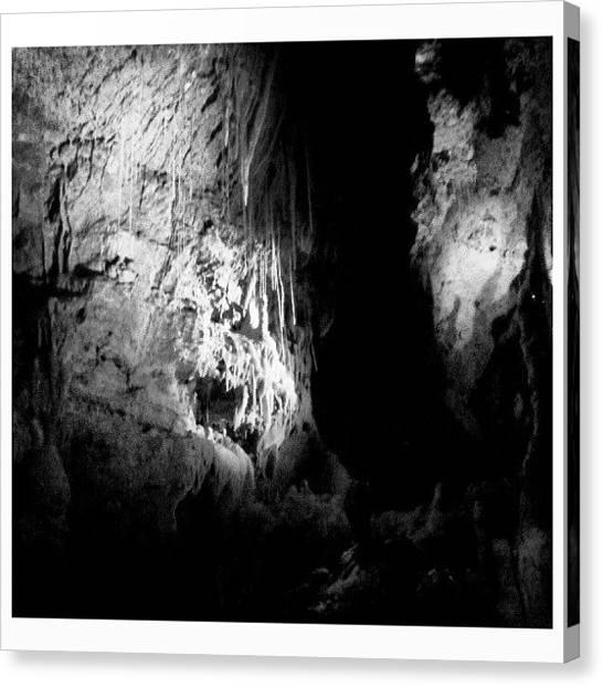 Spelunking Canvas Print - #bw #blackandwhite #rock #stone by Clifford McClure