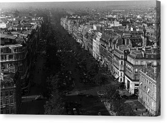 Bw France Paris Champs Elysees Avenue 1970s Canvas Print by Issame Saidi