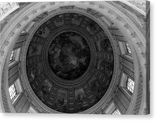 Bw France Paris Dome Fresco Charles De La Fosse 1970s Canvas Print by Issame Saidi