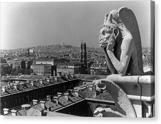 Bw France Paris Notre Dame Cathedral The Thinker 1970s Canvas Print by Issame Saidi