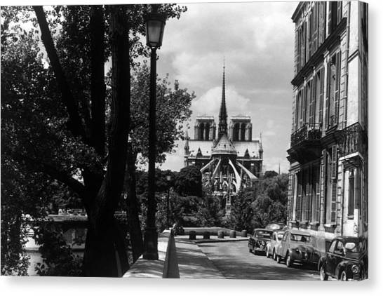Bw France Paris Notre Dame Saint Louis Island 1970s Canvas Print by Issame Saidi