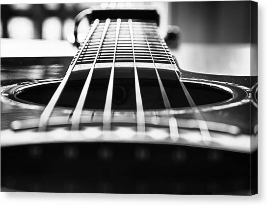 Bw Guitar Canvas Print by Javier Luces