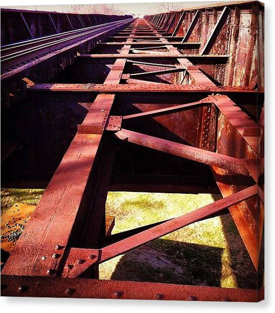 Metal Canvas Print - By The Train Tracks by  Abril Andrade Griffith