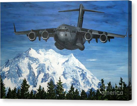 C-17 And Mt. Rainier Canvas Print