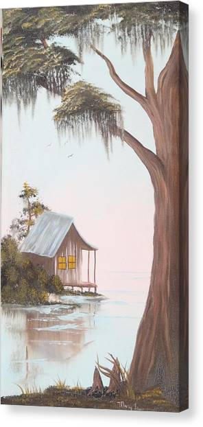 Cabin In The Swamp Canvas Print by Mary Matherne