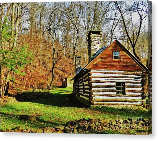 Cabin In The Woods Canvas Print by Snapshot Studio