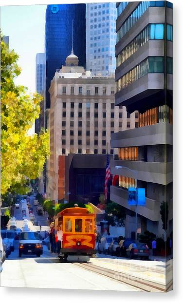 Cablecar On San Francisco California Street  . 7d7176 Canvas Print by Wingsdomain Art and Photography