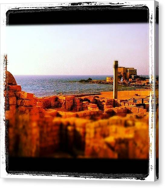 Israeli Canvas Print - Caesarea Series #israel #archaeology by Kim Cafri