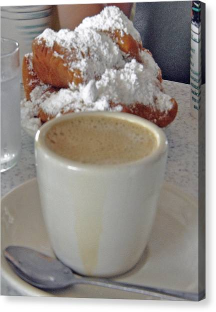 Cafe Au Lait And Beignets Canvas Print by Helen Haw