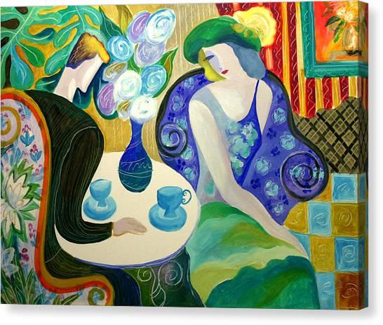 Tea Time Canvas Print - Romance by Leon Zernitsky