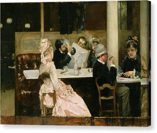Cafes Canvas Print - Cafe Scene In Paris by Henri Gervex
