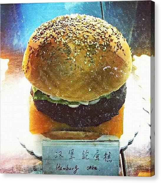 Meals Canvas Print - #cake #indulgence #burger #bestoftheday by Victor Wong
