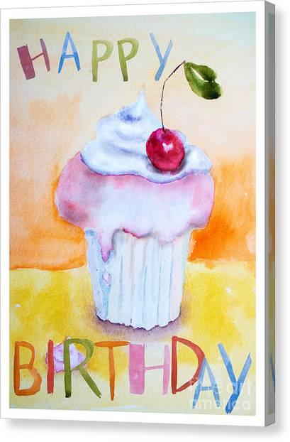 Cake With Insription Happy Birthday Canvas Print
