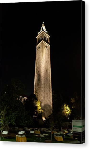 Ucla Canvas Print - Cal Sather Tower Lights Up The Night by Replay Photos