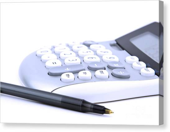 Ballpoint Pens Canvas Print - Calculator And Pen by Blink Images