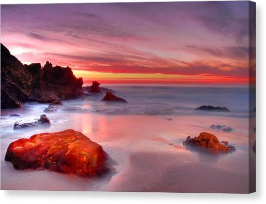 California Beach Sunset Canvas Print By Dung Ma