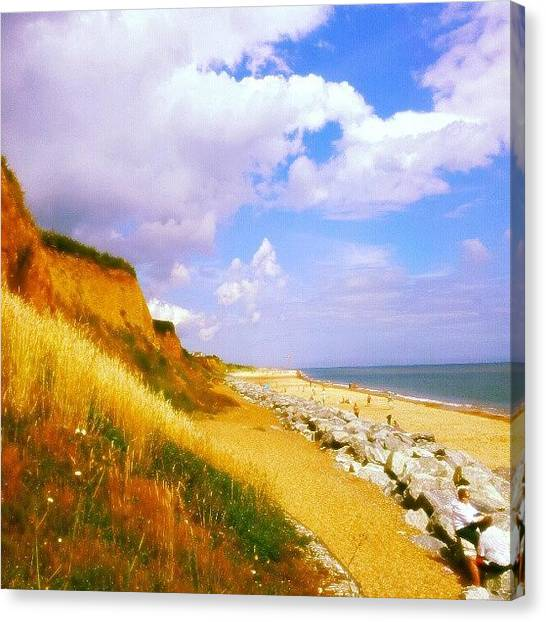Beach Cliffs Canvas Print - California Cliffs #beach #sand #rocks by Invisible Man