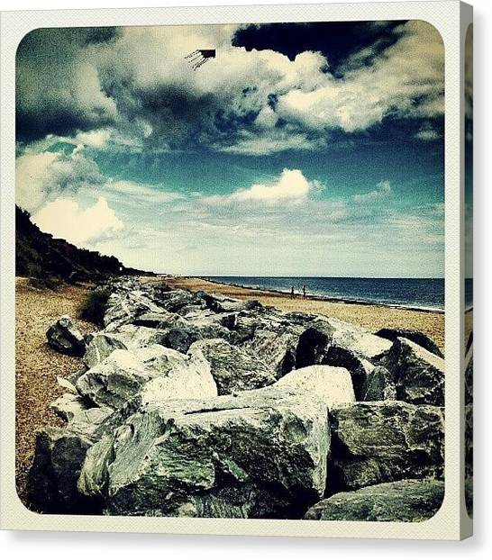 Beach Cliffs Canvas Print - California Cliffs #stones #summer by Invisible Man