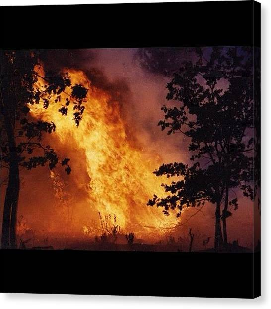 Firefighters Canvas Print - California Wildland Fire 1992 35mm by Paul Wallingford
