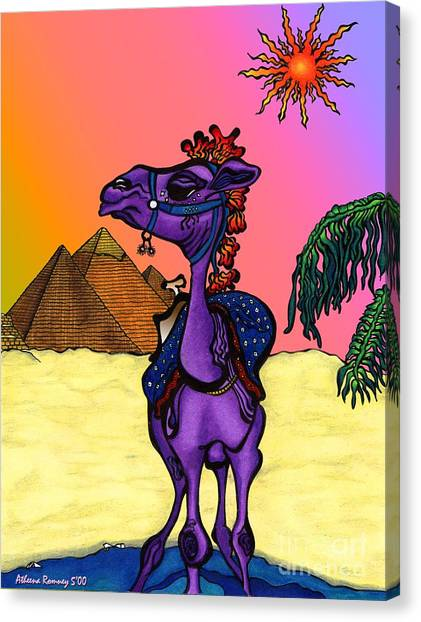 Camel In Giza Canvas Print