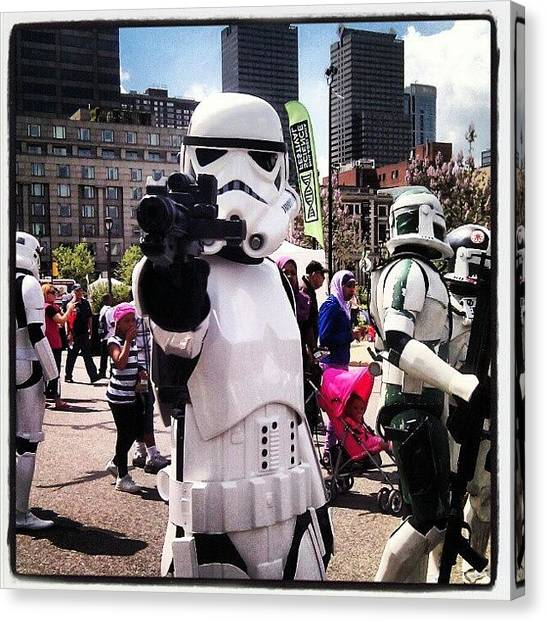 Stormtrooper Canvas Print - Can Anyone Guess Where I'm At? by Christian Carollo