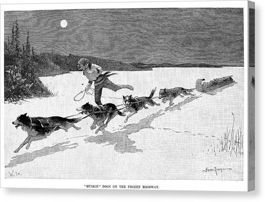 Sleds Canvas Print - Canada: Fur Trade, 1892 by Granger