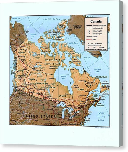 Canada Relief Map Canvas Print by Pg Reproductions