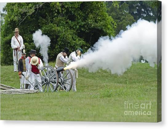 Cannon Fire Canvas Print by JT Lewis