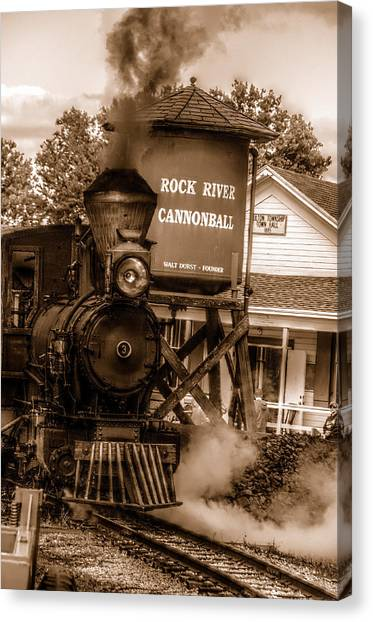 Cannonball Express In Sepia Canvas Print