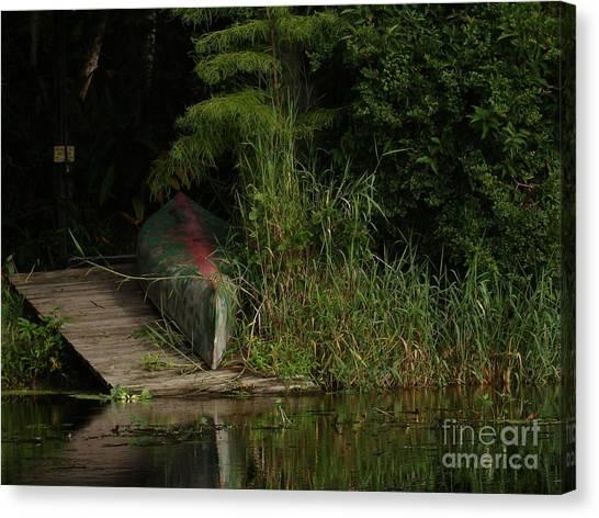 Canoe Green Thumbed Canvas Print
