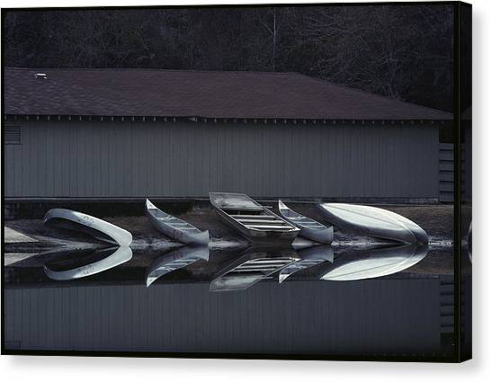 Okefenokee Canvas Print - Canoes Reflected In Water At A Boat by Sam Abell