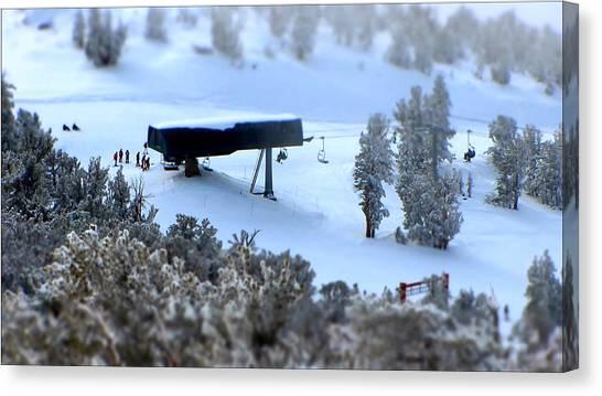 Snowboarding Canvas Print - Canyon Chair Heavenly Ski Resort by Brad Scott