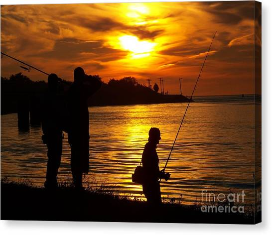 Cape Cod Canal Fishing Canvas Print by John Doble