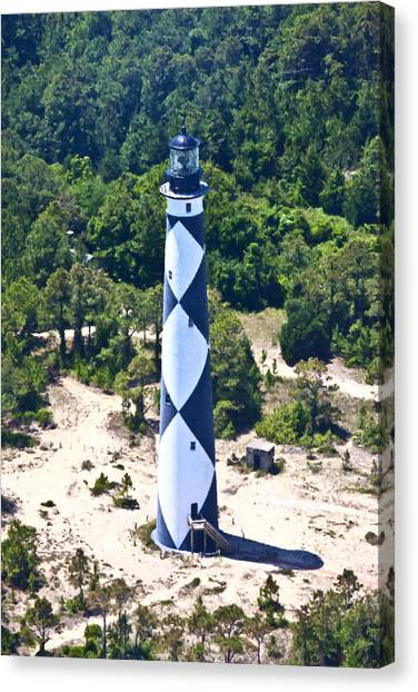 Aerial View Canvas Print - Cape Lookout Lighthouse by Betsy Knapp
