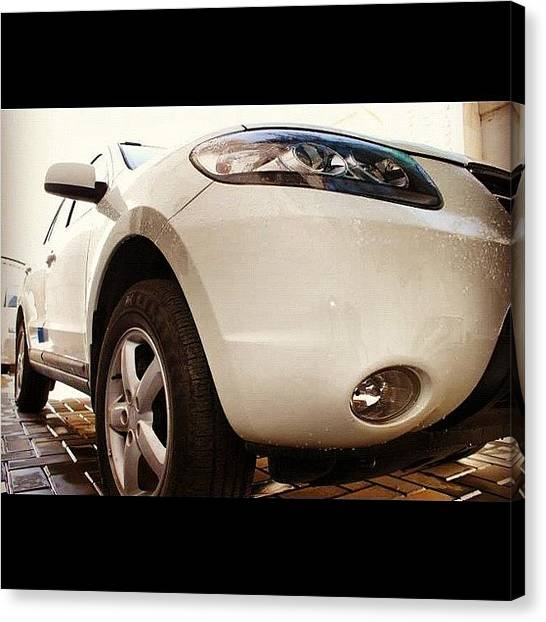 Offroading Canvas Print - #car #hyundai #white #angle #lamp #edge by Shahd Abbasi