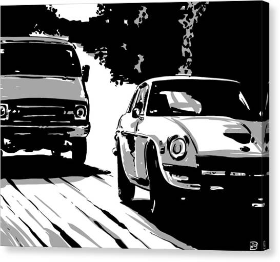 Sports Cars Canvas Print - Car Passing Nr 2 by Giuseppe Cristiano