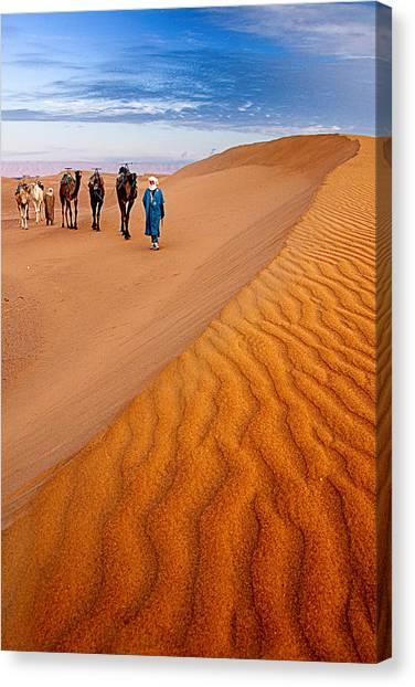Caravan On The Desert Canvas Print