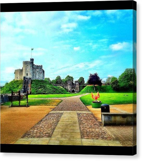 Dragons Canvas Print - Cardiff Castle When Entering. #castle by Elbashir Idris