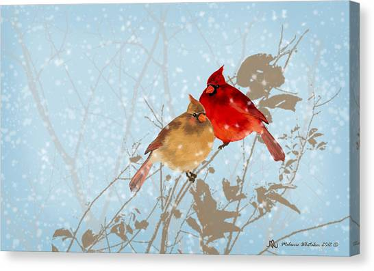 Cardinals In The Snow Canvas Print by Melanie Whitaker