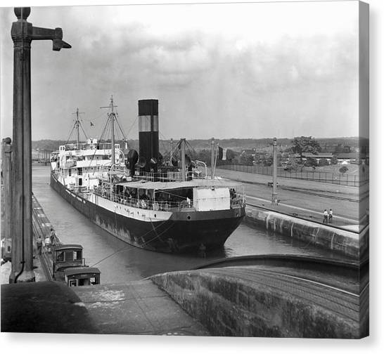 Cargo Ship, Panama Canal Canvas Print by George Marks