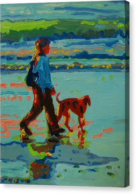 Carmel Beach Sunset Dog Walk Canvas Print