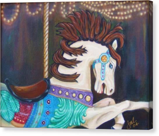 Carousel Canvas Print by Jean LeBaron