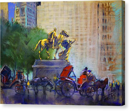 Carriage Canvas Print - Carriage Rides In Nyc by Ylli Haruni