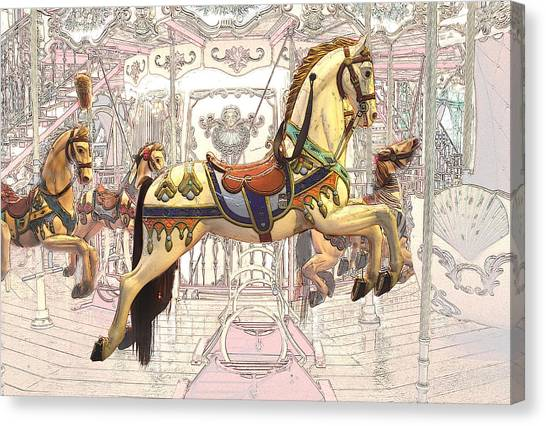 Carrousel With Horses Canvas Print