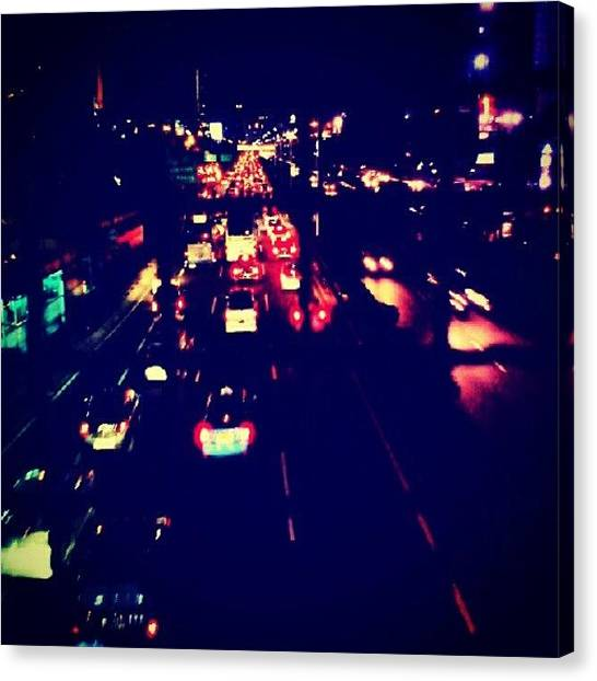 Shakira Canvas Print - #cars #traffic #road #night by Inas Shakira